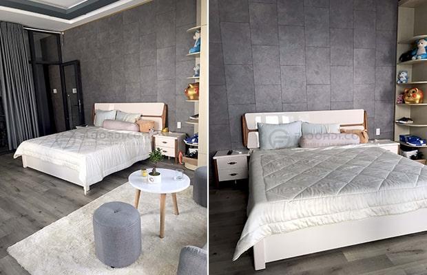 Sàn gỗ vân đá ốp tường là xu hướng décor cho những ai chuộng vẻ phóng khoáng, mạnh mẽ